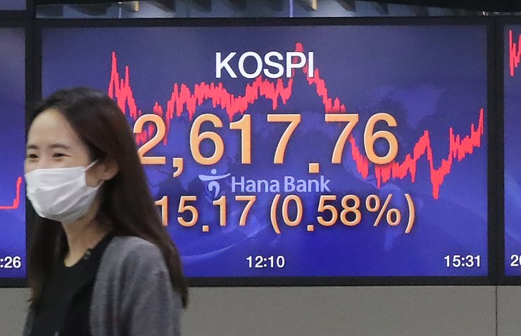 An employee at the headquarters of Hana Bank in central Seoul passes by monitors set at the bank's dealing room, Tuesday. KOSPI hits all-time high of 2,617.76 at Tuesday's closing. / Yonhap