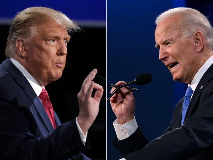 U.S. President Donald Trump and Democratic presidential candidate former Vice President Joe Biden participate in the second presidential debate in Nashville, Tenn., Oct. 22. / AFP-Yonhap