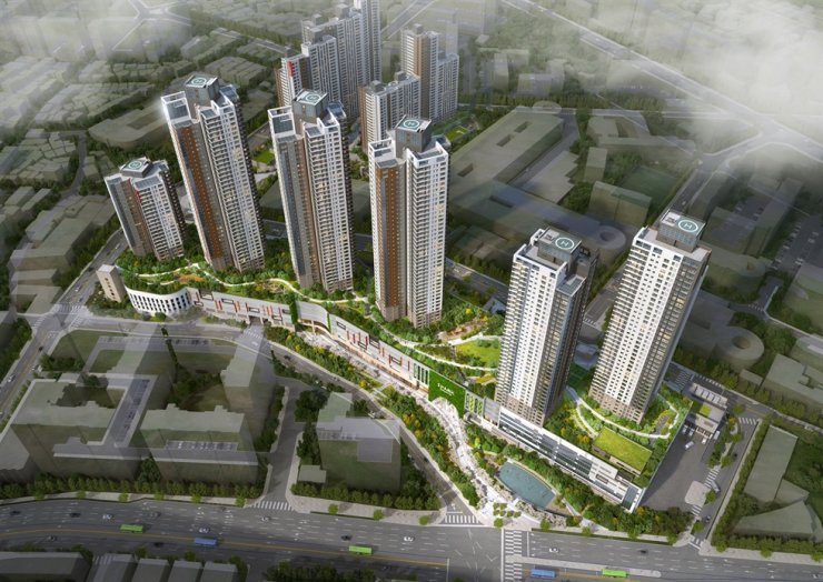 An aerial view of Gocheok IPARK town in southwestern Seoul / Courtesy of HDC