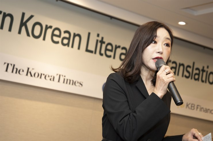 Award-winning poet Kim Yi-deum speaks at the 51st Korea Times Modern Korean Literature Awards held at the Press Center in central Seoul, Thursday. / Korea Times photo by Choi Won-suk
