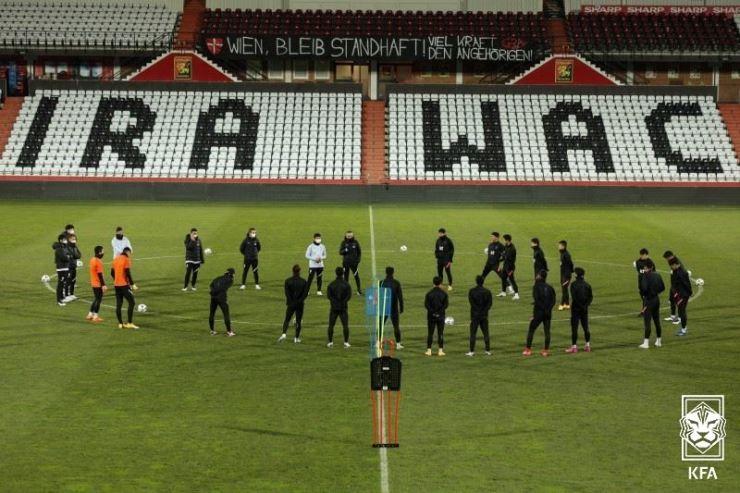 South Korea's national football team players train at the BSFZ Area in Austria, Nov. 16. / Courtesy of KFA