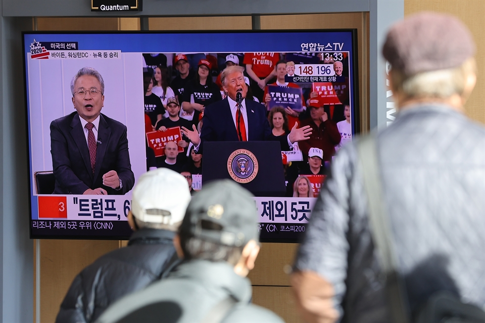 U.S. Democratic Presidential candidate Joe Biden speaks at the Chase Center in Wilmington, Delaware, Wednesday (local time). Political experts widely agree that a Joe Biden presidency would bring a relatively favorable situation to Korea in terms of ongoing negotiations between Seoul and Washington over this year's defense cost-sharing. Yonhap