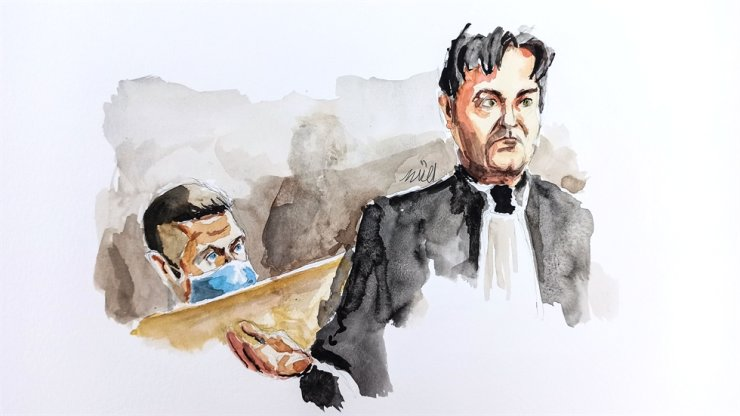 This court sketch created on November 21, 2020, shows Jonathann Daval (L) and his lawyer Randall Schwerdorffer during closing arguments on the last day of Daval's trial, charged with the murder of his wife Alexia, at the courthouse of Vesoul, eastern France. AFP-Yonhap