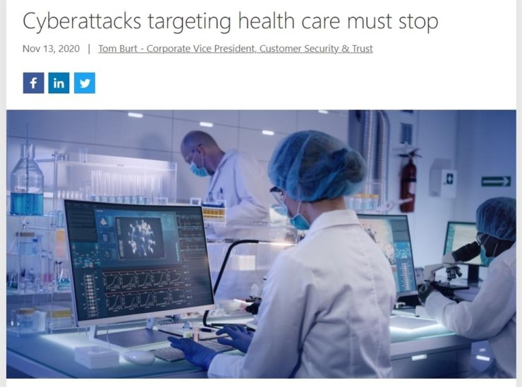 An image capture shows a blog posted by Tom Burt, corporate vice president for customer security and trust, Nov. 13, that explains recent cyberattacks by Russian and North Korean actors against pharmaceutical companies and researchers racing to develop a COVID-19 vaccine. From Microsoft website