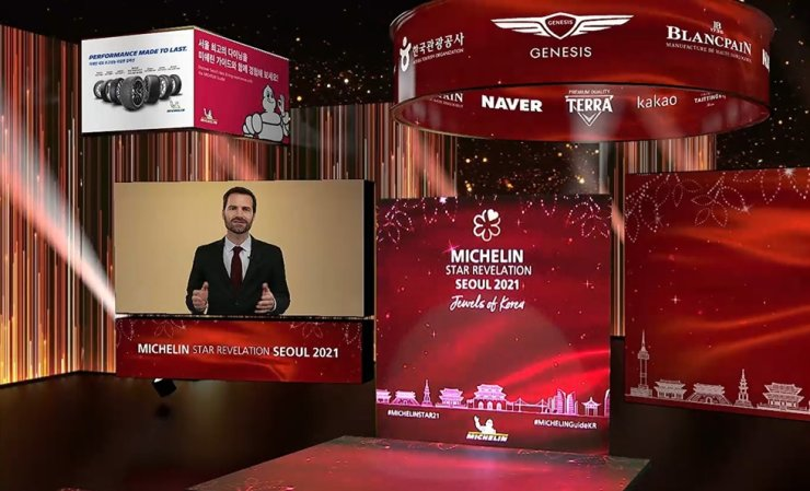 Gwendal Poullennec, international director of the Michelin Guides, speaks during an online event called