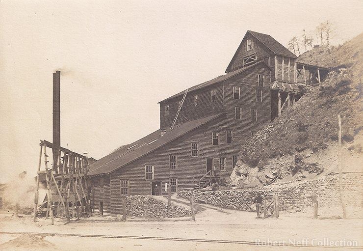 The stamp mill at Chittabalbie where the ore was ground up. There weren't that many gold nuggets ― most of the gold was obtained by crushing rocks. Circa 1904. Robert Neff Collection