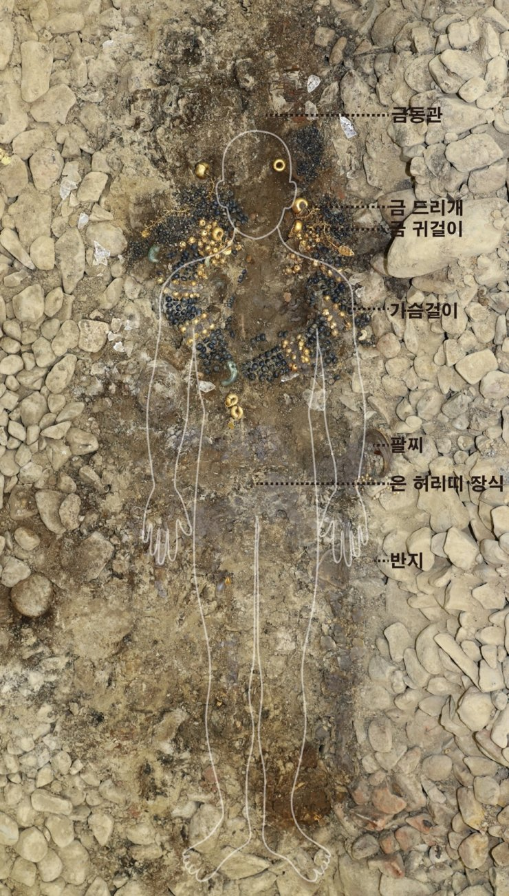 Seen are the accessories adorning the deceased in the Silla ancient tomb no. 44 at Jjoksaem in Gyeongju, North Gyeongsang Province. The ornaments include a gilt-bronze crown, gold pendants and earrings, gold chest ornament and gold and silver bracelet and rings. Courtesy of Gyeongju National Research Institute of Cultural Heritage