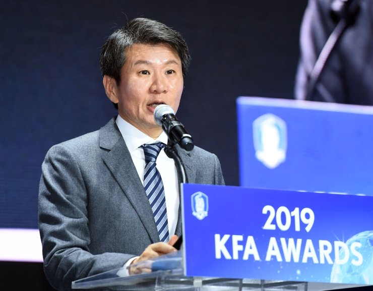 The Korea Football Association President Chung Mong-gyu delivers an opening remark during '2019 KFA Awards' at Westin Chosun Hotel in Seoul's Jung District in December 2019. Korea Times file