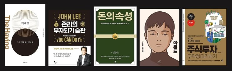 The top five bestselling books of 2020 from online bookshop Interpark include from left: 'The Having,' 'John Lee's Habits to Build Wealth,' 'The Property of Money,' 'Almond and The Cakewalk Series' and 'Stock Market Investing.' Courtesy of Interpark