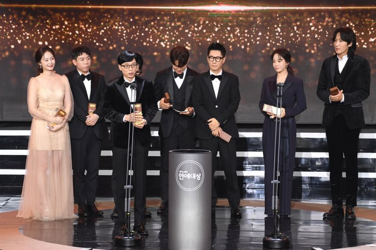 The 'Running Man' team wins the Golden Content Award at the 2020 SBS Entertainment Awards ceremony held Dec. 19 in Seoul. / Courtesy of SBS