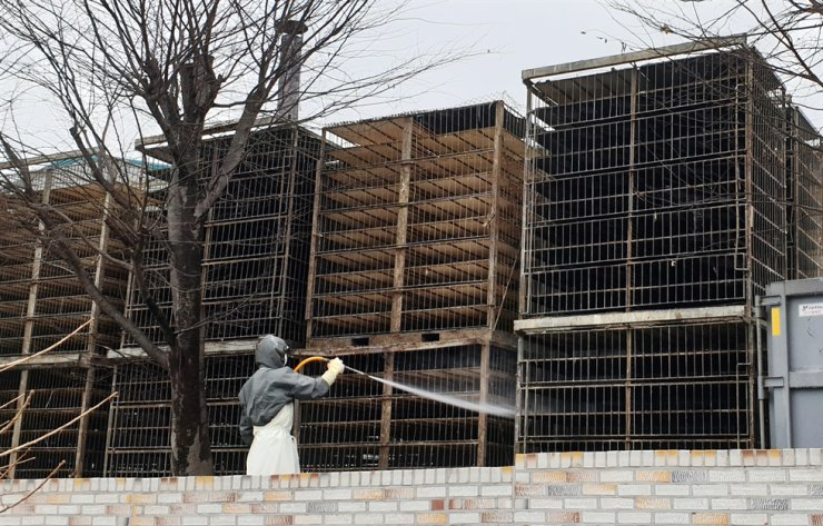 A health official disinfects cages at a duck farm in Naju, South Jeolla Province, Dec. 10, after ducks from the farm that were sent to a slaughterhouse a day before were detected with a highly pathogenic avian influenza. Yonhap