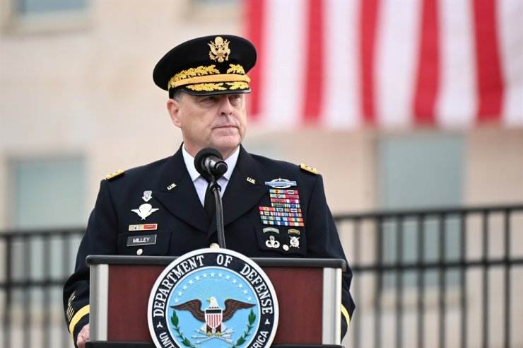 U.S. Chairman of the Joint Chiefs of Staff General Mark Milley gives remarks during the 19th annual 911 observance ceremony at the Pentagon in Arlington, Virginia, U.S., Sept. 11, 2020. Reuters