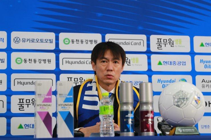 New Ulsan Hyundai manager Hong Myung-bo speaks during press conference online, Jan. 7. / Courtesy of Ulsan Hyundai