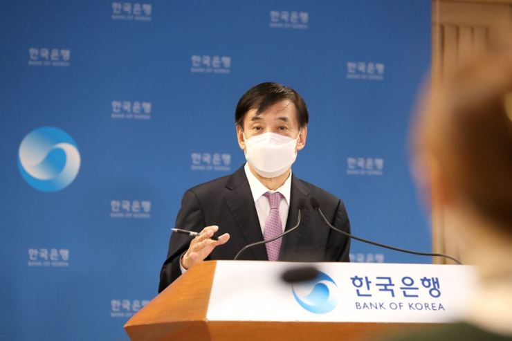 Bank of Korea Governor Lee Ju-yeol speaks during an online press conference at its headquarters in Seoul, Friday. Courtesy of Bank of Korea