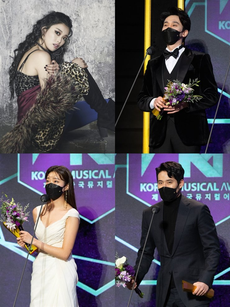 Winners of the fifth Korea Musical Awards pose for a photo during the award ceremony held at Blue Square in central Seoul, Monday. Clockwise from top left are best actress winner Kim Soo-ha, best actor winner Kang Pil-suk, best supporting actor winner Seo Kyung-su and best supporting actress Lee Bomsori. / Courtesy of Korea Musical Awards