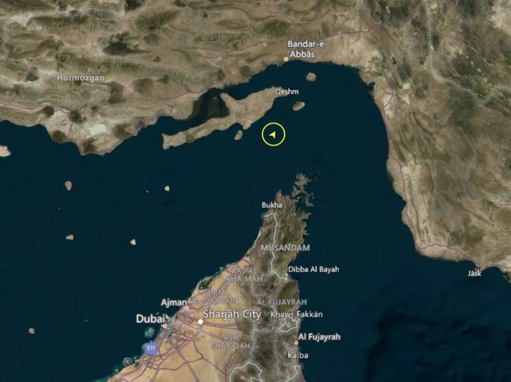 A screenshot taken Jan. 4, 2021, from Refinitiv Eikon shows the location of a Korean-flagged tanker seized by Iran's Revolutionary Guards Corps in Gulf. Reuters