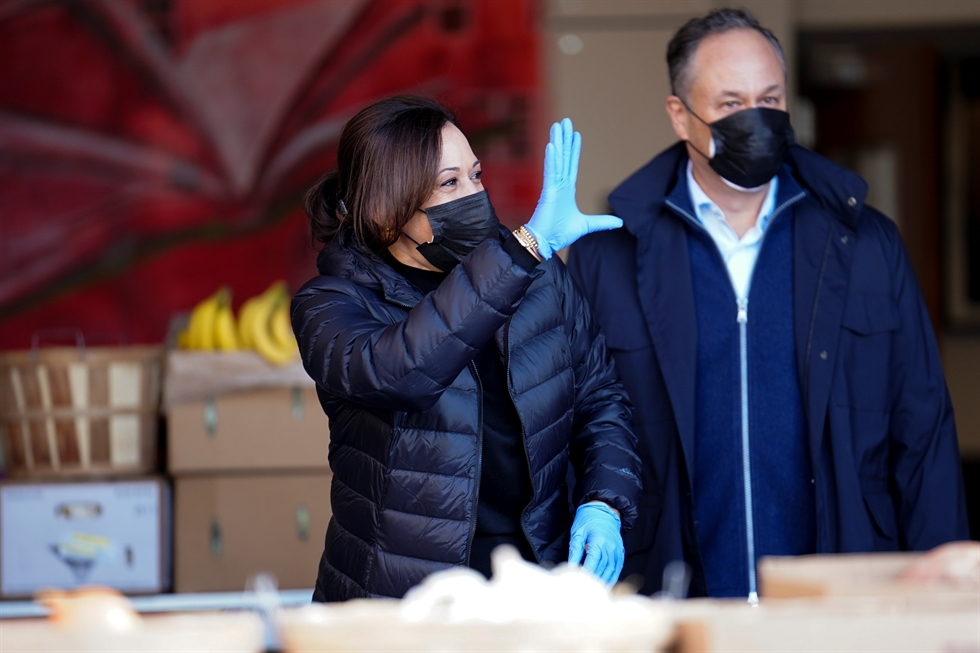 President-elect Joe Biden and his wife, Dr. Jill Biden, arrive to volunteer at Philabundance in Philadelphia, Pa. Monday, Jan. 18, 2021. AP