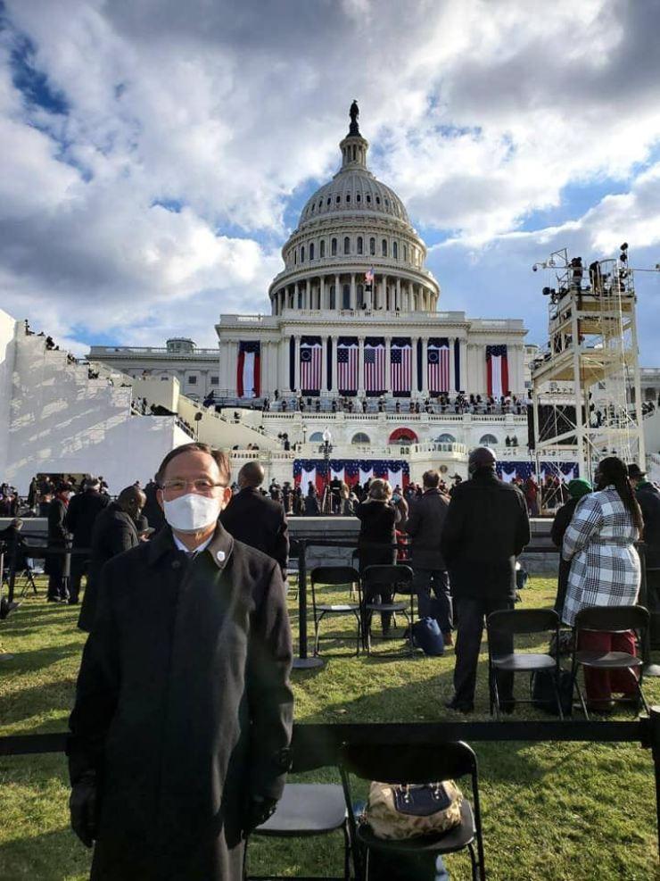 Korean Ambassador to U.S. Lee Soo-hyuck attends the inauguration ceremony of U.S. President Joe Biden, Thursday. / From Lee Soo-hyuck's Facebook