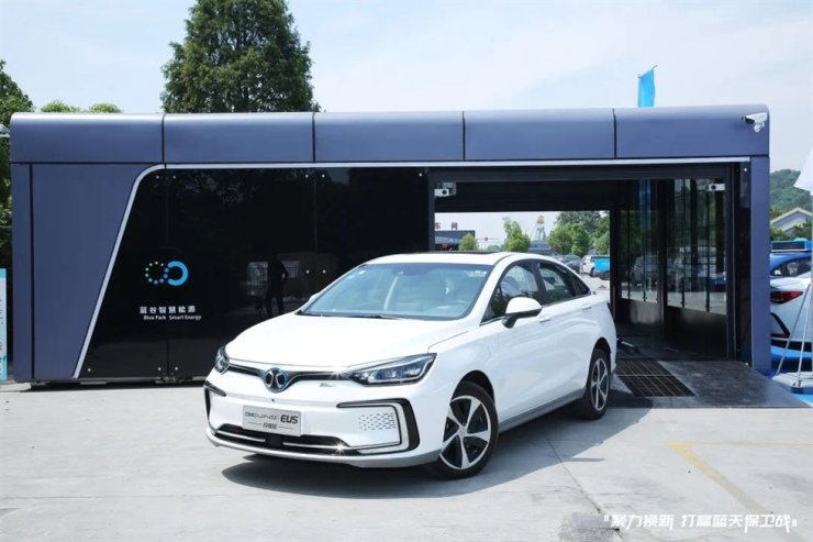 Image of Blue Park Smart Energy Technology's battery swap station in China, provided by SK Innovation, Thursday. SK said it acquired a 13.3 percent stake in the Chinese company. / Courtesy of SK Innovation