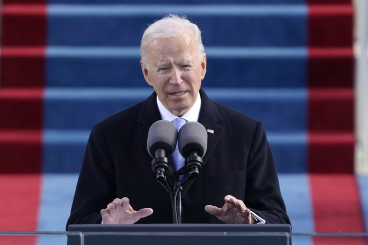 U.S. President Joe Biden speaks during the 59th Presidential Inauguration at the U.S. Capitol in Washington, Wednesday, Jan. 20, 2021. AP