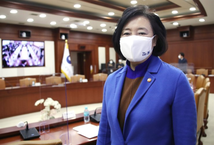 SMEs and Startups Minister Park Young-sun, a former four-term lawmaker, attends a meeting of ministers of economy-related ministries, at the Government Complex Seoul, Monday. Yonhap