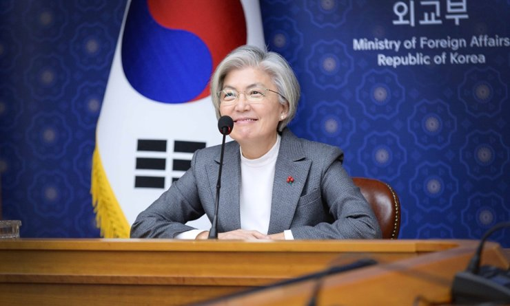 Foreign Minister Kang Kyung-wha joins an online session of the World Economic Forum Jan. 29 from the ministry's headquarters in Seoul's Jongno District. Courtesy of the Ministry of Foreign Affairs