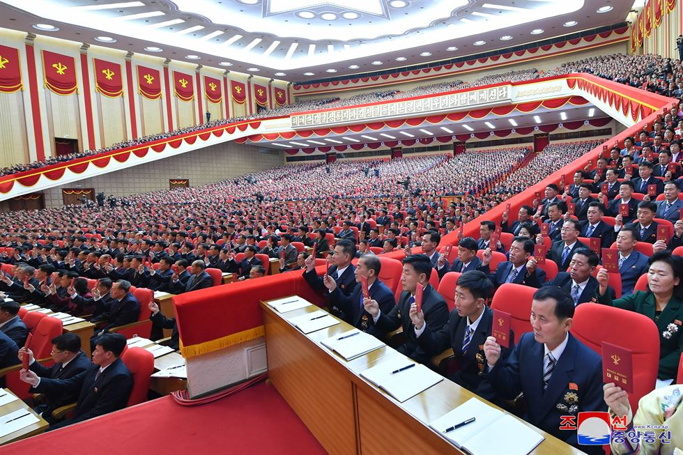 North Korean leader Kim Jong-un speaks during the eighth congress of the Workers' Party of Korea, Tuesday, according the Korean Central News Agency, Wednesday. Yonhap