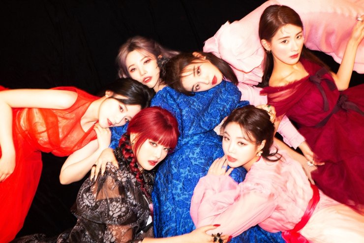 The six-member K-pop girl group (G)I-DLE has topped iTunes Top Album charts in 51 countries. Courtesy of Cube Entertainment