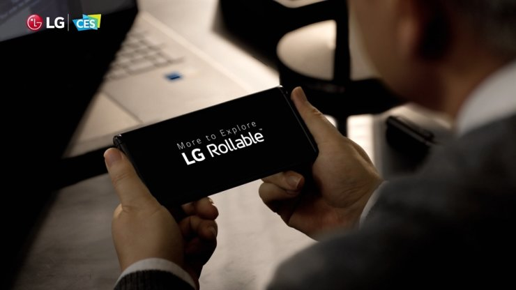 Image shows LG Electronics' new smartphone with a rollable display, introduced during a press conference at CES 2021, Jan. 11. Courtesy of LG Electronics