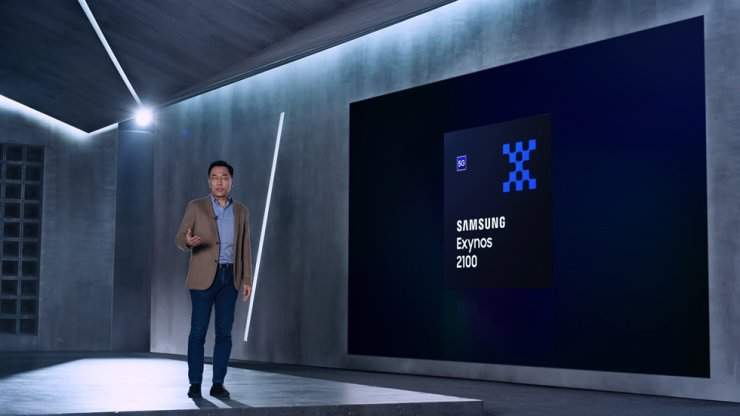 Kang In-yup, head of Samsung Electronics' system LSI business, introduces the company's Exynos 2100 mobile application processor, Tuesday. Courtesy of Samsung Electronics
