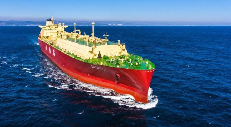 An LNG carrier built by Hyundai Heavy Industries / Courtesy of Korea Shipbuilding & Offshore Engineering