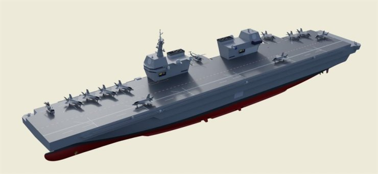 A graphic of an indigenous light aircraft carrier, which the military has recently decided to develop. Yonhap