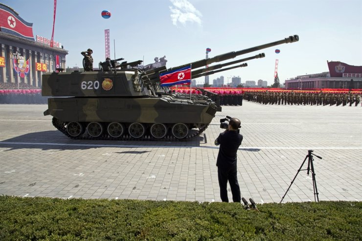 North Korean artillery rolls past during a parade for the 70th anniversary of North Korea's founding day in Pyongyang, North Korea, Sunday, Sept. 9, 2018. Yonhap