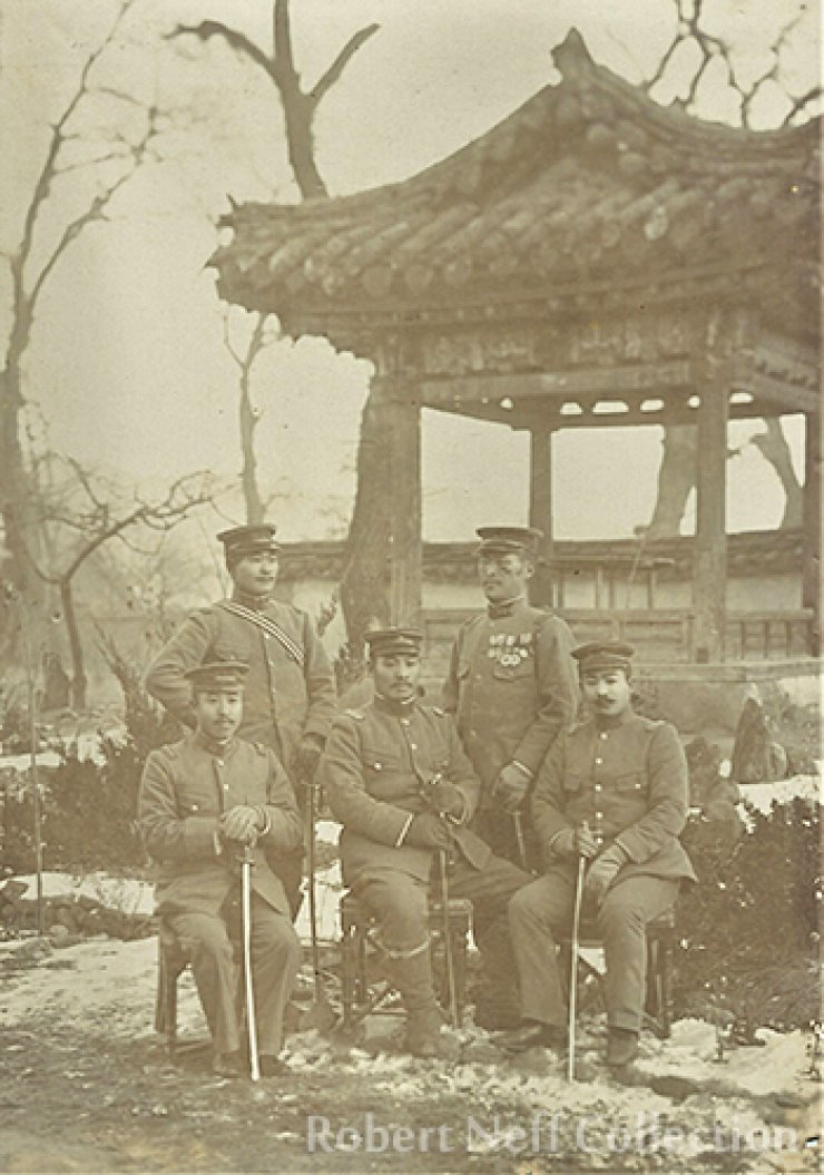 Japanese military officers in Korea in the early 20th century.  Robert Neff Collection