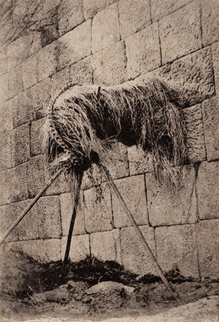 A corpse wrapped in straw in the late 19th century.  Courtesy of Diane Nars Collection