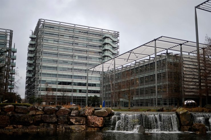An office block that houses the offices of China's CGTN Europe (China Global Television Network), is pictured in Chiswick Park, west London on Feb. 4, 2021. AFP-Yonhap