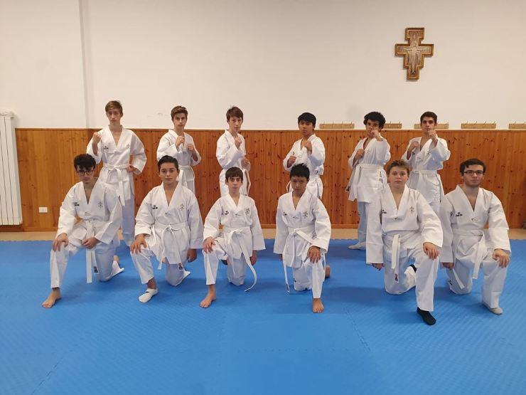 Students of the Saint Pius X Institute's taekwondo course in Vatican City. Courtesy of World Taekwondo