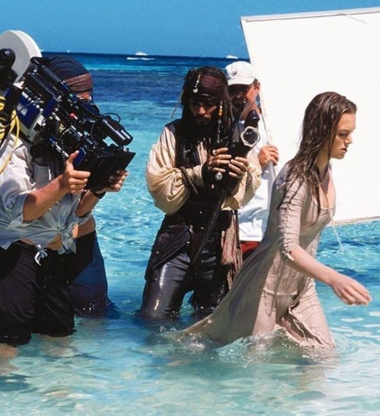Johnny Depp, center, an American actor, is seen during the shooting of