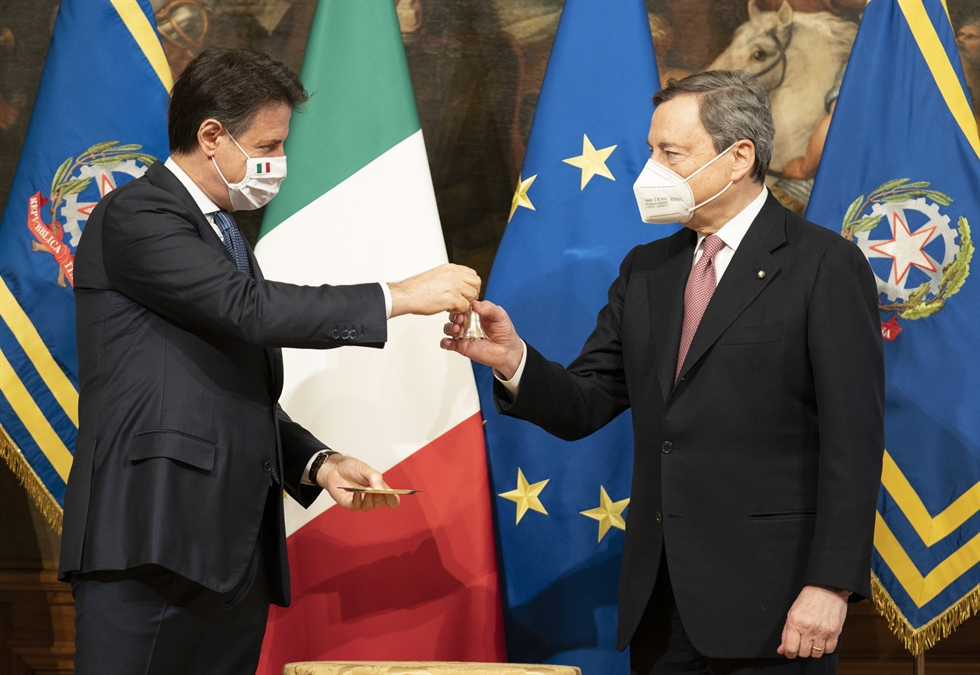 A handout photo made available by Chigi presidential palace showing Prime Minister Mario Draghi upon his arrival for the handover ceremony at Chigi Palace Premier's office in Rome, Italy, Feb. 13, 2021. EPA-Yonhap