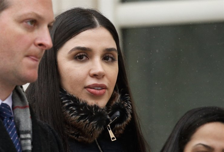 In this file photo, Emma Coronel Aispuro, wife of Joaquin 'El Chapo' Guzman, leaves from the U.S. Federal Courthouse after a verdict was announced at the trial for him on Feb. 12, 2019, in Brooklyn, New York. U.S. authorities arrested the wife of the Mexican drug lord on Feb. 22 as she arrived at Dulles International Airport outside of Washington, the Justice Department said. AFP