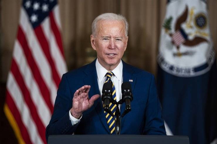 President Joe Biden makes a foreign policy speech at the State Department in Washington, DC, on Thursday, Feb. 4, 2021. UPI-Yonhap