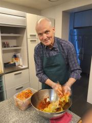 Ambassador of Denmark to Seoul Einar H. Jensen makes kimchi in this photo posted Feb. 4 on the embassy's official social media accounts. Captured from Facebook