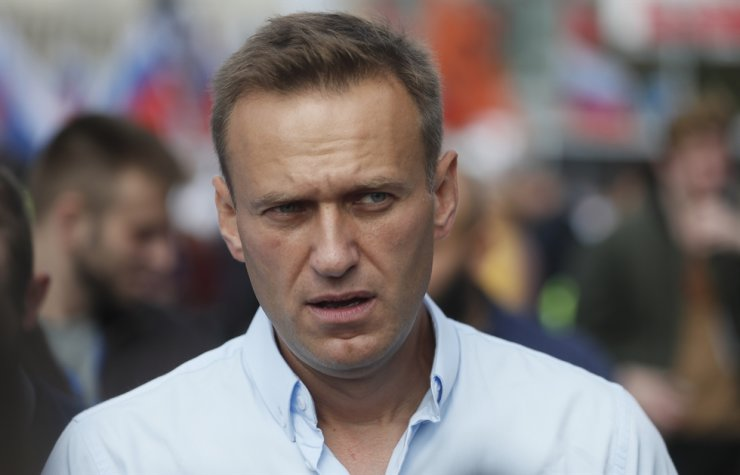 Russian Opposition activist Alexei Navalny attends a rally in support of opposition candidates in the Moscow City Duma elections in downtown of Moscow, Russia, 20 July 2019 (reissued 31 January 202a). EPA-Yonhap