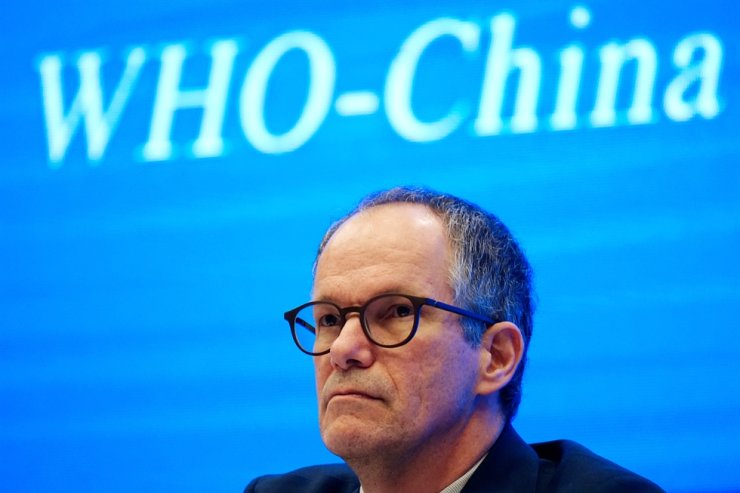 Peter Ben Embarek, a member of the World Health Organization (WHO) team tasked with investigating the origins of the coronavirus disease (COVID-19), attends the WHO-China joint study news conference at a hotel in Wuhan, Hubei province, China February 9, 2021. REUTERS-Yonhap