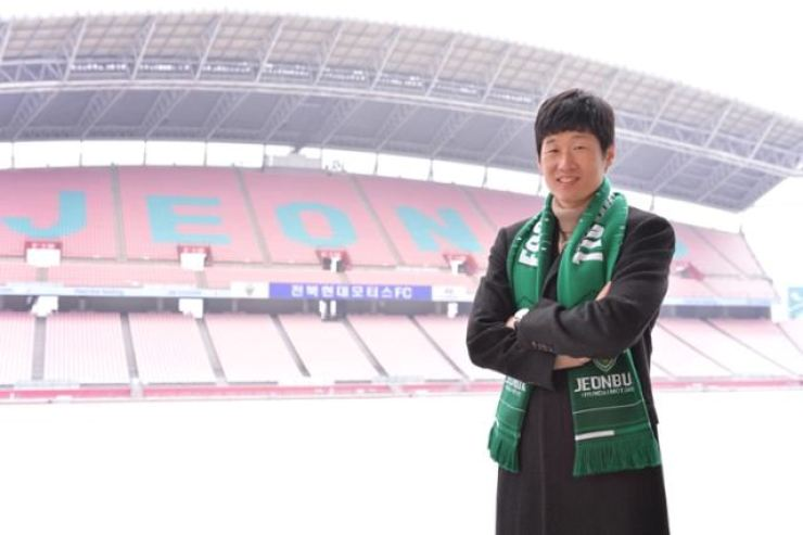 Jeonbuk Hyundai football advisor Park Ji-sung poses at the Jeonbuk World Cup Stadium in North Jeolla Province, Jan. 20. / Courtesy of Jeonbuk Hyundai