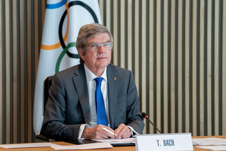 This handout picture taken and released on Feb. 24, 2021, by the International Olympic Committee (IOC) shows IOC president Thomas Bach attending an IOC Executive Board meeting in Lausanne. The IOC announced that Brisbane was the preferred candidate to host the 2032 Games. AFP
