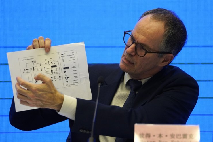 Peter Ben Embarek, of the World Health Organization team holds up a chart showing pathways of transmission of the virus during a joint press conference held at the end of the WHO mission in Wuhan, China, Tuesday. AP-Yonhap