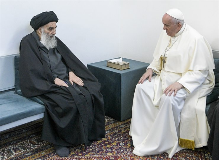 Pope Francis, right, meets with Iraq's leading Shiite cleric, Grand Ayatollah Ali al-Sistani in Najaf, Iraq, March 6. The closed-door meeting was expected to touch on issues plaguing Iraq's Christian minority. Al-Sistani is a deeply revered figure in Shiite-majority Iraq and his opinions on religious matters are sought by Shiites worldwide. AP
