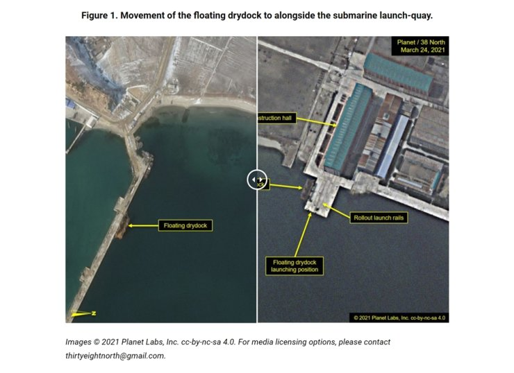 America's North Korea-specializing website 38 North released on March 27 Planet Labs' recent satellite photo of North Korea's Sinpo shipyard where the floating drydock has been repositioned from before (left) to next to the submarine launching quay. Courtesy of 38 North