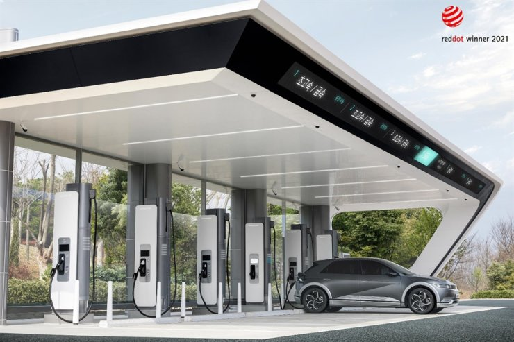 Seen is an illustration of Hyundai Motor Group's electric vehicle (EV) charging station, provided by the group, Tuesday. The automotive group said it will run its EV charging station business under the brand E-pit. Courtesy of Hyundai Motor Group